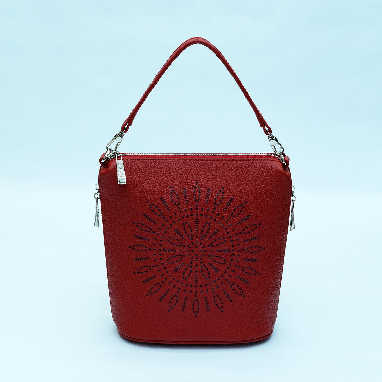Женские сумки ручной работы. Ярмарка Мастеров - ручная работа. Купить Кожаная сумка Emma красного цвета. Handmade. Сумки