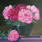 Картины и панно handmade. Livemaster - original item Oil painting. Pink peonies.Still life with flowers. Handmade.