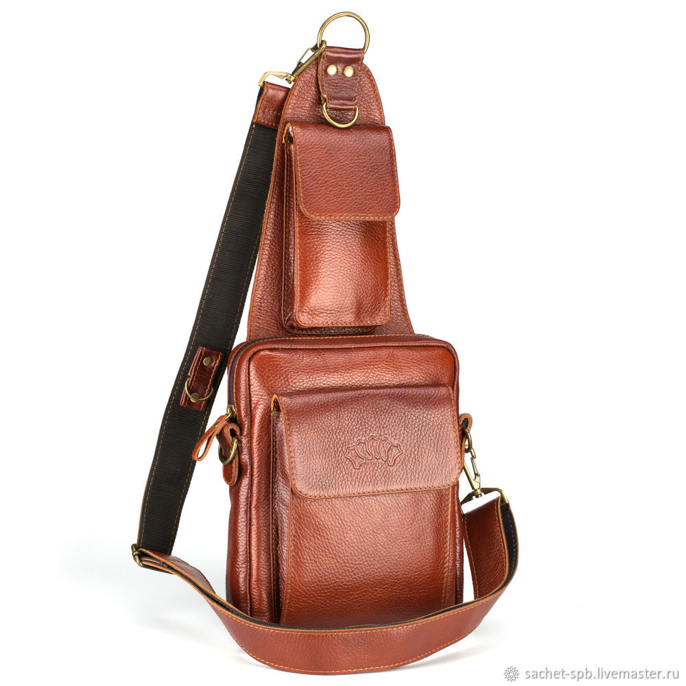 Leather chest bag 'Steven' (red), Classic Bag, St. Petersburg,  Фото №1