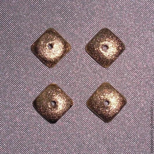 """Для украшений ручной работы. Ярмарка Мастеров - ручная работа. Купить Шапочка для бусин """"Звездная пыль"""" квадр., Vermeil 18K. Handmade."""