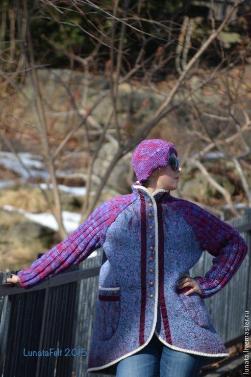 """Верхняя одежда ручной работы. Ярмарка Мастеров - ручная работа. Купить Авторское валяное полупальто-реглан """"Прогулки по марту"""". Handmade."""
