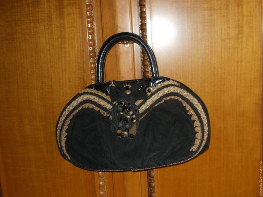 Винтажные сумки и кошельки. Ярмарка Мастеров - ручная работа. Купить Дамская сумка черная с декором  Италия. Handmade. Черный