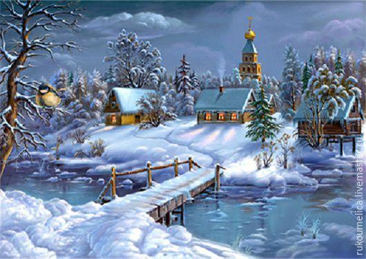Вышивка ручной работы. Ярмарка Мастеров - ручная работа. Купить Зима в деревне. Алмазная живопись. Handmade. Белый, зима, алмазная
