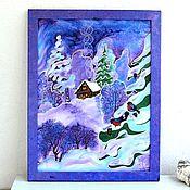 """Картины и панно ручной работы. Ярмарка Мастеров - ручная работа картина панно батик сине сиреневое """"Зимняя сказка"""" натуральный шелк. Handmade."""