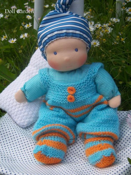 Человечки ручной работы. Ярмарка Мастеров - ручная работа. Купить Филипок, текстильная кукла для детей. Handmade. Голубой, на годик, длогаден