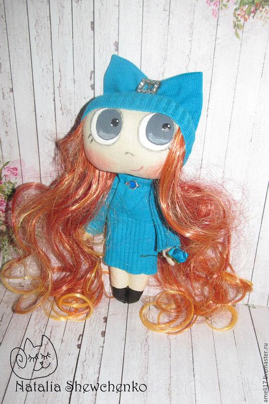 Коллекционные куклы ручной работы. Ярмарка Мастеров - ручная работа. Купить Большеглазка в голубом. Handmade. Бирюзовый, кукла в подарок
