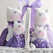 Куклы и игрушки ручной работы. Ярмарка Мастеров - ручная работа Фиалковое счастье. Семейство котов в сиреневой гамме. Handmade.