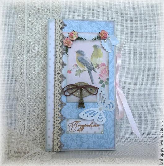 """Открытки для женщин, ручной работы. Ярмарка Мастеров - ручная работа. Купить Шоколадница """"Парижские будни"""". Handmade. Голубой, открытка для женщины"""