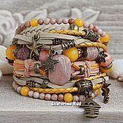 handmade. Livemaster - original item Leather bracelet in the marine style