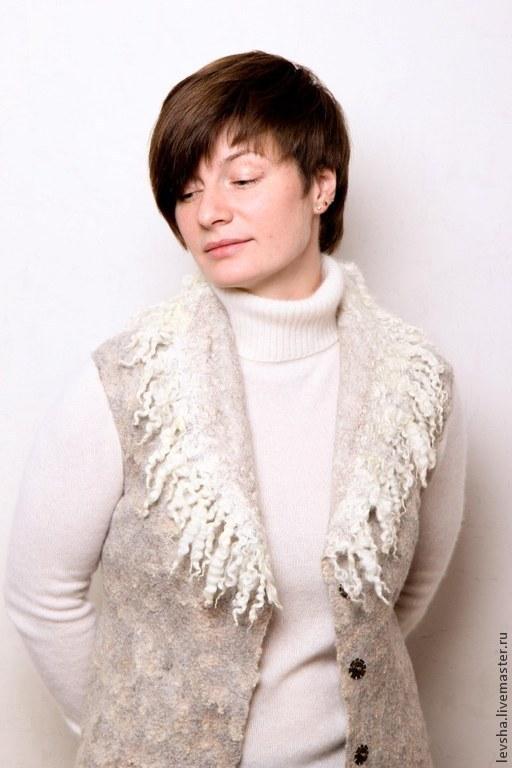 felted vest. Wool vest. Designer clothing from felt. FUR VEST. Womens vest felt. Vest custom made 5-7 days. Felted vest buy