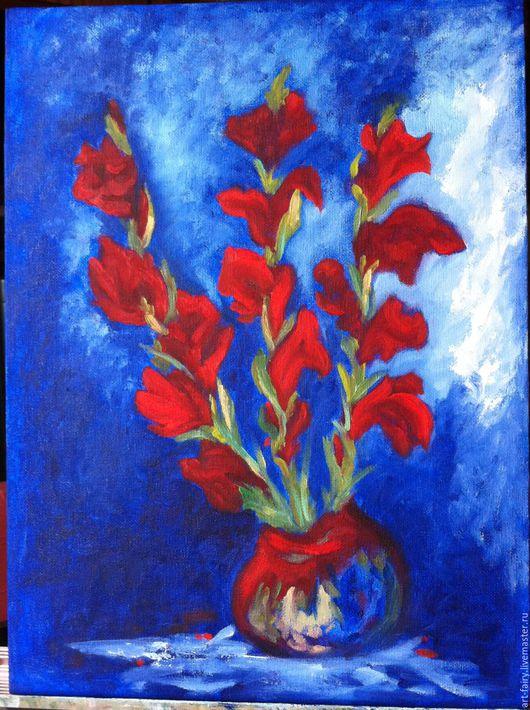 Картины цветов ручной работы. Ярмарка Мастеров - ручная работа. Купить Прекрасные гладиолусы. Handmade. Тёмно-синий, цветы