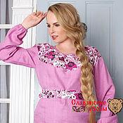 """Одежда ручной работы. Ярмарка Мастеров - ручная работа Блуза """"Гжель"""" розово-фиолетовая. Handmade."""