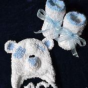 """Работы для детей, ручной работы. Ярмарка Мастеров - ручная работа Шапочка на выписку """"Мишка Тедди""""и пинетки. Handmade."""