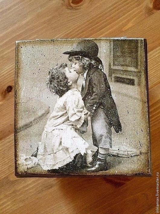 Шкатулки ручной работы. Ярмарка Мастеров - ручная работа. Купить Шкатулочка. Handmade. Темно-серый, романтический стиль, поцелуй, дерево