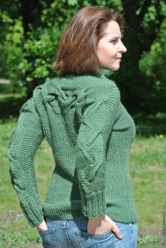 Кофты и свитера ручной работы. Ярмарка Мастеров - ручная работа. Купить Нежный  свитер из мохеровой пряжи. Handmade. Тёмно-зелёный
