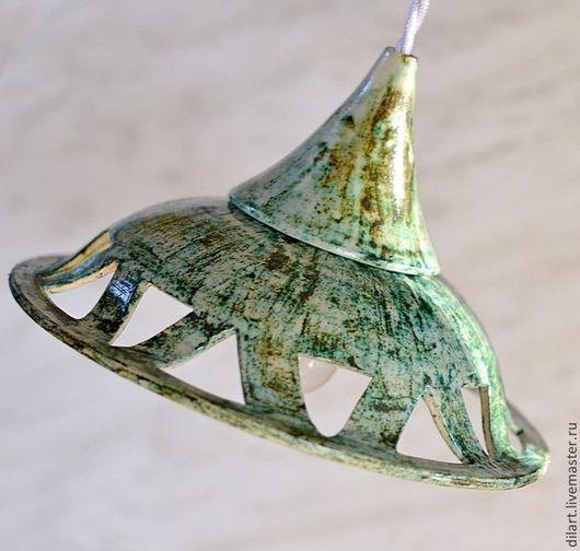 Освещение ручной работы. Ярмарка Мастеров - ручная работа. Купить Светильник потолочный люстра керамическая Зеленый мрамор. Handmade.