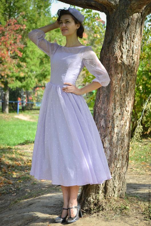Платья ручной работы. Ярмарка Мастеров - ручная работа. Купить Платье в духе ретро, 50-ые. Handmade. Бледно-сиреневый