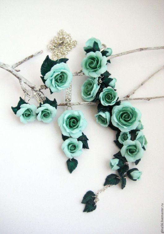 Комплекты украшений ручной работы. Ярмарка Мастеров - ручная работа. Купить Mint ....... Handmade. Мятный, цветы, кулон на цепочке
