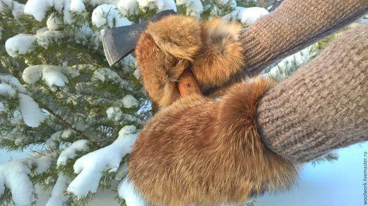 Мужские варежки из меха рыжей лисы Размер 9-10