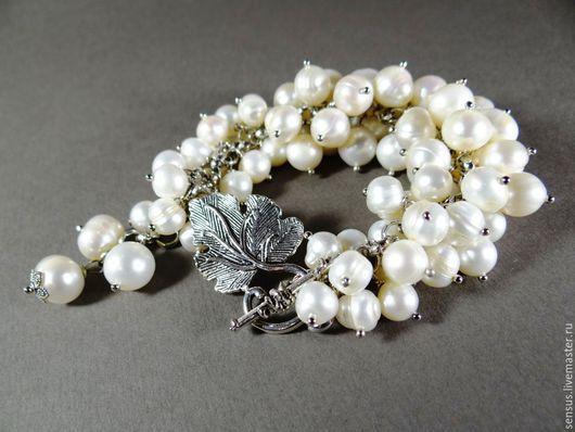 браслет из жемчуга, жемчужный браслет, купить браслет, пышный браслет, из жемчуга, белый, ярмарка мастеров, ручная работа, украшение на свадьбу