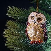 Сувениры и подарки handmade. Livemaster - original item Christmas tree toy Christmas porcelain toy owl. Handmade.