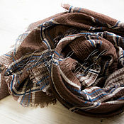 Аксессуары handmade. Livemaster - original item Brown linen plaid scarf. Handmade.