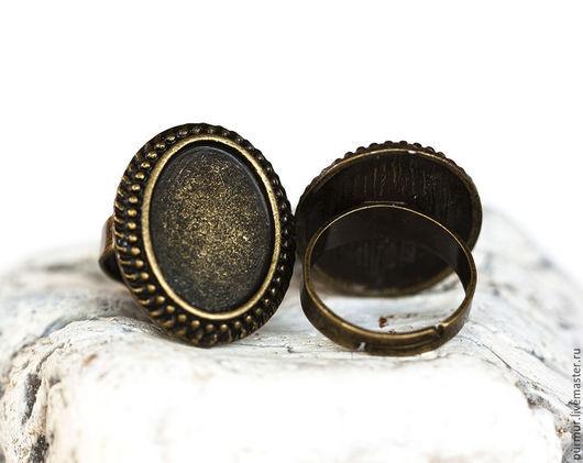 Для украшений ручной работы. Ярмарка Мастеров - ручная работа. Купить 1341_1_Винтажная овальная основа для кольца, Регулируемый, 24x20 мм. Handmade.