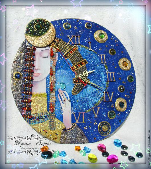 """Часы для дома ручной работы. Ярмарка Мастеров - ручная работа. Купить Часы """"Млечный путь"""". Handmade. Тёмно-синий"""