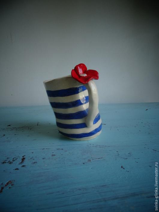 Кружки и чашки ручной работы. Ярмарка Мастеров - ручная работа. Купить Мятая чашка. Керамика. Handmade. Тёмно-синий, свинкаглинка