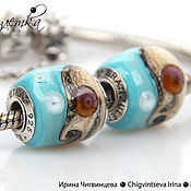 Материалы для творчества handmade. Livemaster - original item Breeze - 1 bead lampwork - charm 925 silver insert. Handmade.