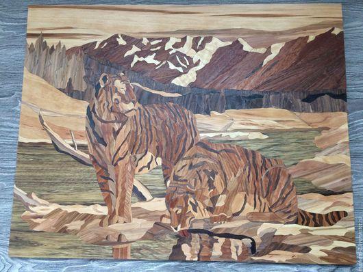 """Пейзаж ручной работы. Ярмарка Мастеров - ручная работа. Купить Картина деревом."""" Тигры Уссури"""".. Handmade. Картина деревом"""