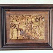 """Картины и панно ручной работы. Ярмарка Мастеров - ручная работа Резная картина """"Уездный городок"""". Handmade."""
