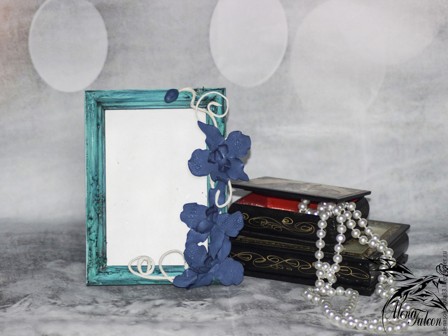 Frame for a photo blue flowers blue white gift – shop online on ...