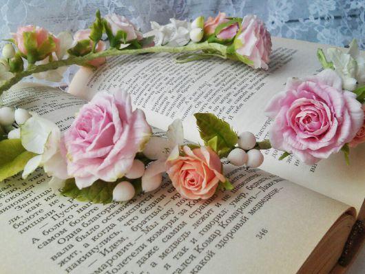 Свадебные украшения ручной работы. Ярмарка Мастеров - ручная работа. Купить Венок с розами , Бутоньерка с розами, гортензией, снежноягодником. Handmade.