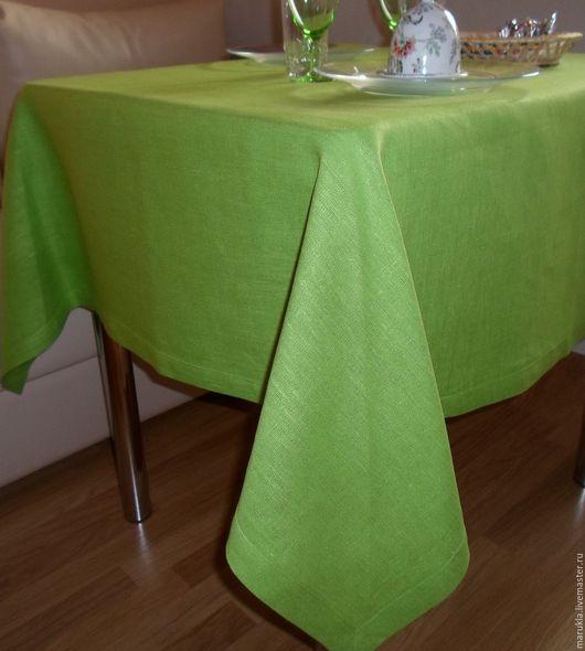 """Текстиль, ковры ручной работы. Ярмарка Мастеров - ручная работа. Купить Скатерть льняная """"Яблоко"""". Handmade. Ярко-зелёный, лён"""