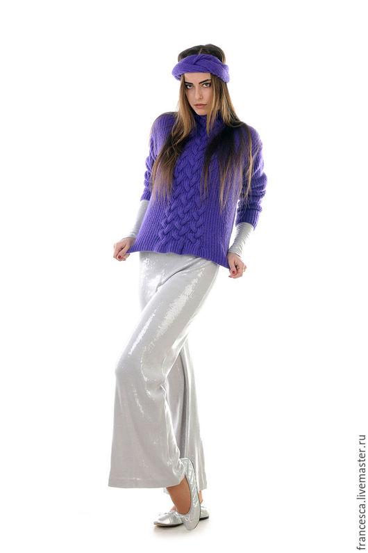 Кашемировый пуловер джемпер свитер классический в английскую резинку. Дизайнерская одежда ручной работы. Cashmere Francesca.
