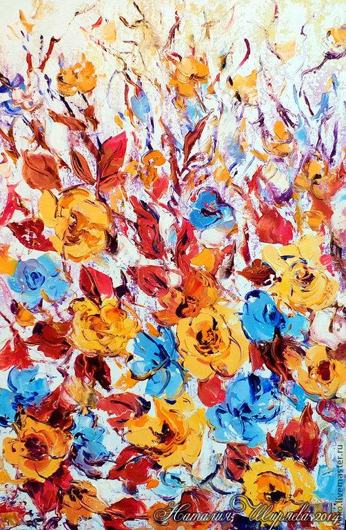 """Картины цветов ручной работы. Ярмарка Мастеров - ручная работа. Купить Картина """"Осенние розы"""" (холст, масло). Handmade. Оранжевый"""