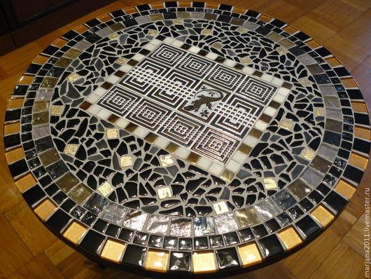 """Мебель ручной работы. Ярмарка Мастеров - ручная работа. Купить Столик придиванный с мозаикой """"Саламандра"""". Handmade. Мозаика, подарок"""