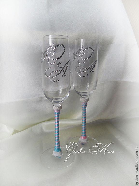 свадебные бокалы с инициалами из страз
