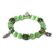 Фен-шуй и эзотерика handmade. Livemaster - original item Bracelet made of natural stones from the cat`s eye