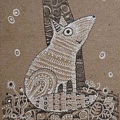Картины и панно ручной работы. Ярмарка Мастеров - ручная работа Шерстяной лисенок.. Handmade.