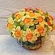 весенняя композиция нарциссы в крошечной корзинке для девушки подарок на 8 марта маленькая корзинка цветы и флористика цветы в корзинке желтые цветы весна весеннее настроение необычная композиция мале