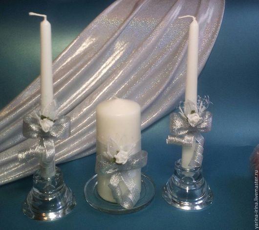 Домашний очаг`Серебряный` Свечи для родителей и одна большая для молодоженов. По заказу.