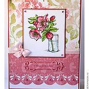 Открытки ручной работы. Ярмарка Мастеров - ручная работа открытка с веточкой розы к дню рождения. Handmade.