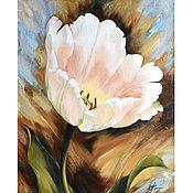 Картины и панно handmade. Livemaster - original item White Tulip oil painting