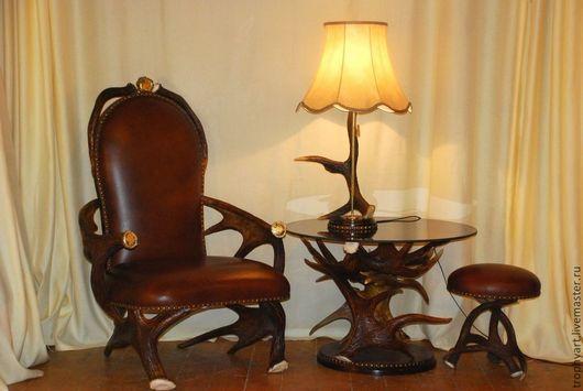 Мебель ручной работы. Ярмарка Мастеров - ручная работа. Купить Набор мебели из лосиных рогов. Handmade. Коричневый, кресло из рогов
