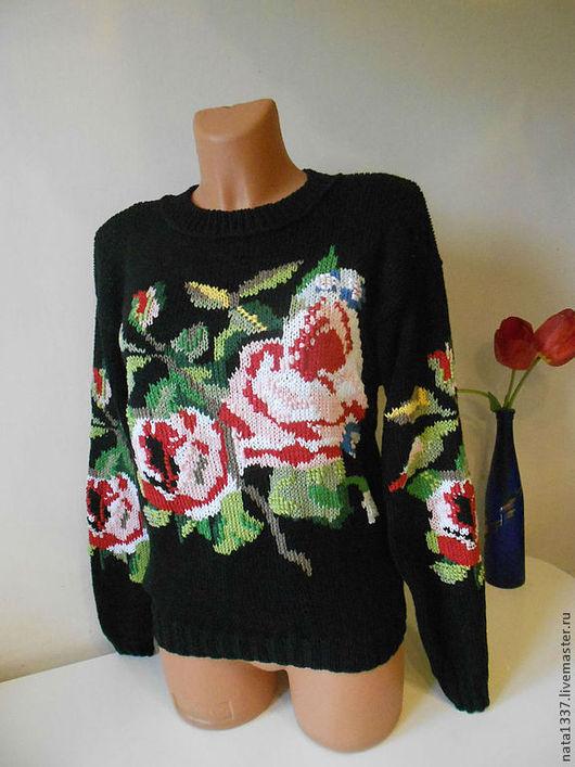 Кофты и свитера ручной работы. Ярмарка Мастеров - ручная работа. Купить Шелковый джемпер с розами. Handmade. Черный, джемпер спицами