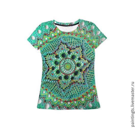 """Футболки, майки ручной работы. Ярмарка Мастеров - ручная работа. Купить Женская футболка """"Гармония"""" с авторским принтом 3D. Handmade."""