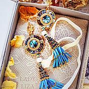 Украшения handmade. Livemaster - original item Blue earrings with tassels by Camilla. Long earrings. Oriental earrings.. Handmade.