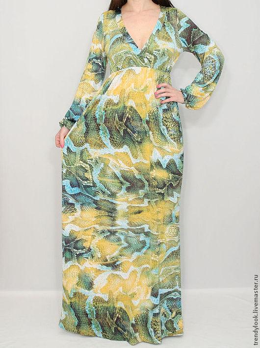 Платья ручной работы. Ярмарка Мастеров - ручная работа. Купить Змеиный принт Платье в пол с длинным рукавом желто-зеленый цвет. Handmade.